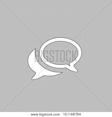 Chat Simple line vector button. Thin line illustration icon. White outline symbol on grey background