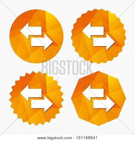 Incoming and outgoing calls sign. Upload. Download arrow symbol. Triangular low poly buttons with flat icon. Vector