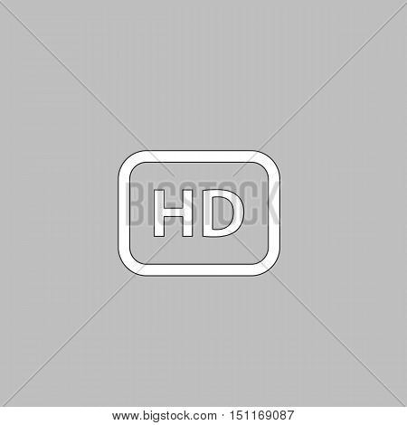 HD Simple line vector button. Thin line illustration icon. White outline symbol on grey background