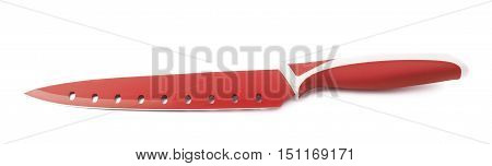 Steel red kitchen knife isolated over the white background