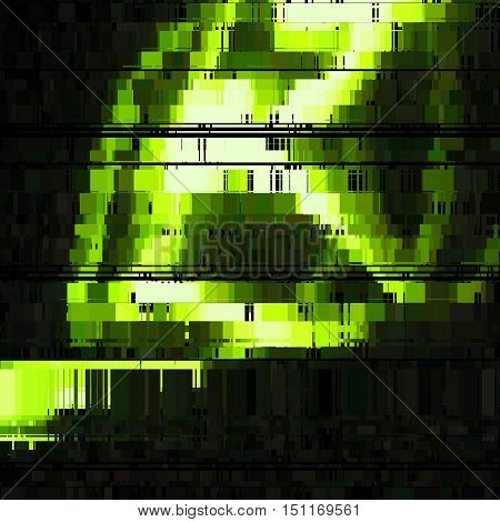 Glitch green abstract background with distortion, bug effect, random lines for design concepts, posters, presentations and prints. Vector illustration.