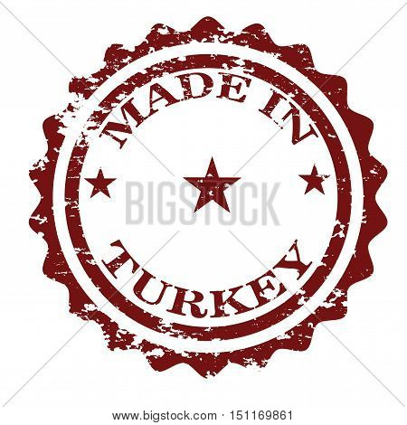 Made in Turkey stamp isolated on white