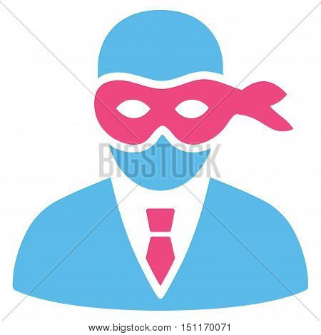 Masked Thief icon. Glyph style is bicolor flat iconic symbol with rounded angles, pink and blue colors, white background.