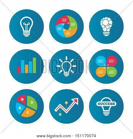 Business pie chart. Growth curve. Presentation buttons. Light lamp icons. Circles lamp bulb symbols. Energy saving. Idea and success sign. Data analysis. Vector