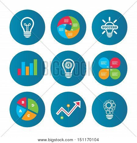 Business pie chart. Growth curve. Presentation buttons. Light lamp icons. Circles lamp bulb symbols. Energy saving with cogwheel gear. Idea and success sign. Data analysis. Vector