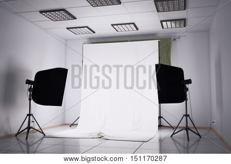 3d illustration of a photo studio interior with different equipment
