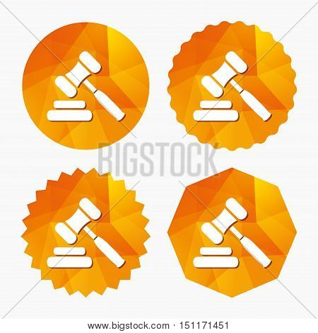 Auction hammer icon. Law judge gavel symbol. Triangular low poly buttons with flat icon. Vector
