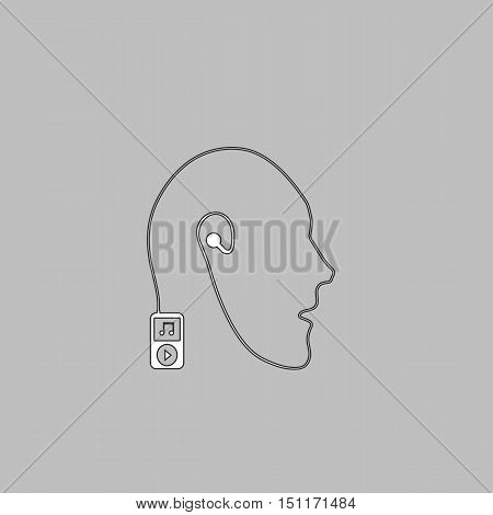Favorite music Simple line vector button. Thin line illustration icon. White outline symbol on grey background