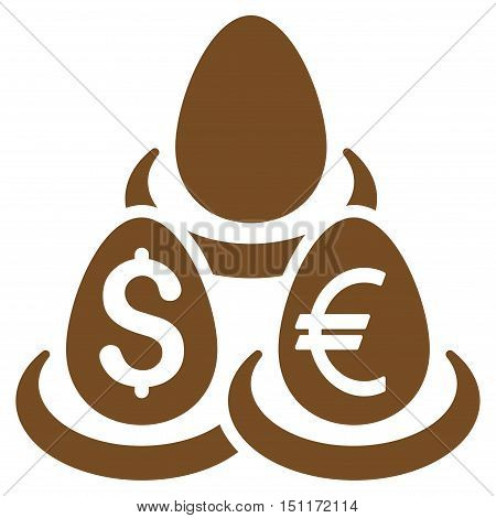 Currency Deposit Diversification icon. Glyph style is flat iconic symbol with rounded angles, brown color, white background.