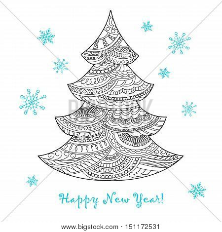 Festive card with Christmas tree decorated hand drawn doodle tangled shapes and snowflake isolated on the white and text Happy New Year. Image can be used for adult coloring book. eps 10