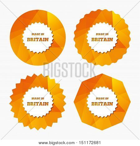 Made in Britain icon. Export production symbol. Product created in UK sign. Triangular low poly buttons with flat icon. Vector