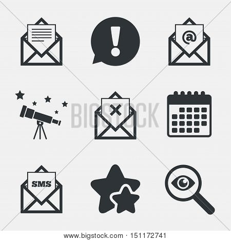 Mail envelope icons. Message document symbols. Post office letter signs. Delete mail and SMS message. Attention, investigate and stars icons. Telescope and calendar signs. Vector
