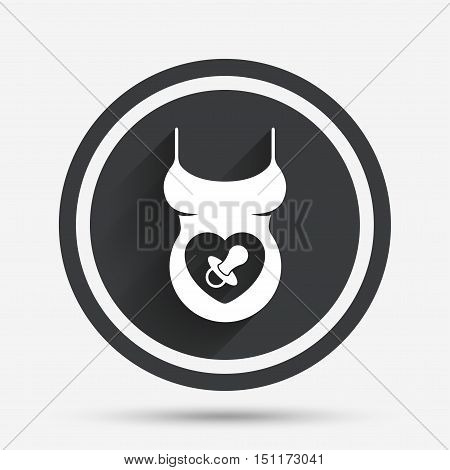 Pregnant woman shirt sign icon. Baby on board with dummy. Maternity symbol Circle flat button with shadow and border. Vector