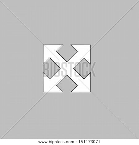 Enlarge Simple line vector button. Thin line illustration icon. White outline symbol on grey background