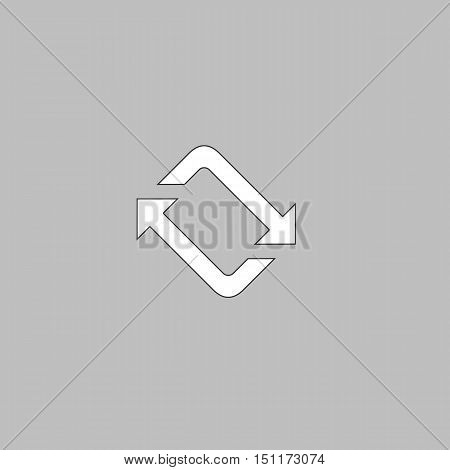 refresh Simple line vector button. Thin line illustration icon. White outline symbol on grey background