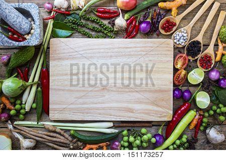 Thai food ingredients vegetable spicy taste, top view