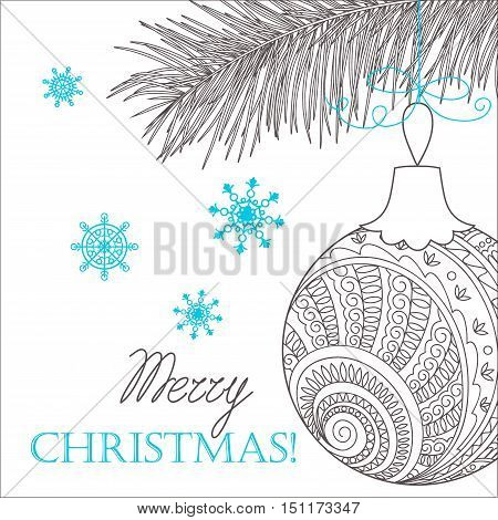 Festive card with Christmas sprig ball decorated hand drawn doodle tangled flowers and snowflake isolated on the white and text Merry Christmas. Image can be used for adult coloring book. eps 10