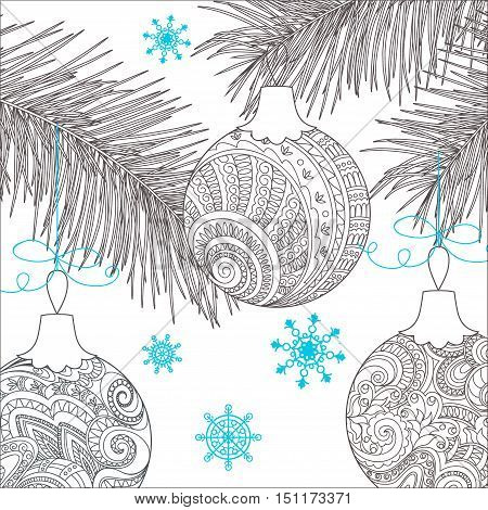 Festive card with Christmas balls decorated hand drawn doodle tangled flowers and snowflake. Image can be used for adult coloring book. eps 10