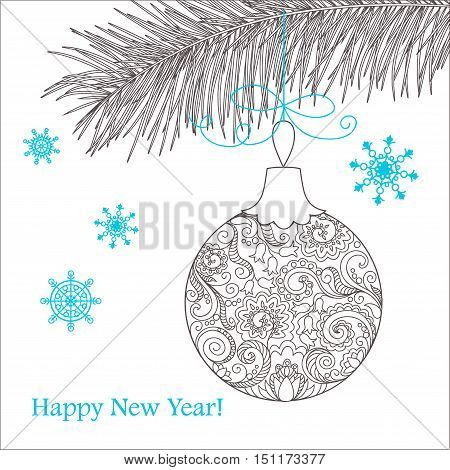 Festive card with Christmas ball decorated hand drawn doodle tangled flowers and snowflake isolated on the white and text Happy New Year. Image can be used for adult coloring book. eps 10