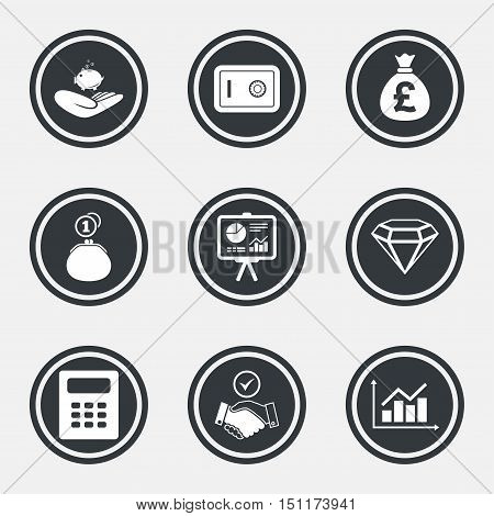 Money, cash and finance icons. Handshake, safe and calculator signs. Chart, safe and jewelry symbols. Circle flat buttons with icons and border. Vector