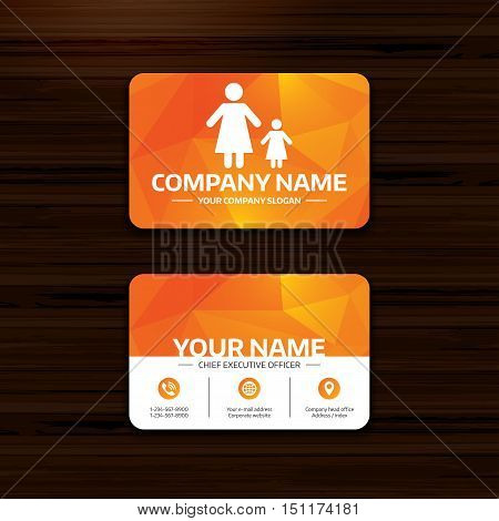 Business or visiting card template. One-parent family with one child sign icon. Mother with daughter symbol. Phone, globe and pointer icons. Vector