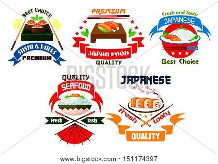 Japanese food restaurant emblems. Sushi rolls, salmon sashimi, steamed rice, red caviar, seafood, wasabi, bamboo chopsticks, soy sauce. Oriental cuisine label for menu card, signboard