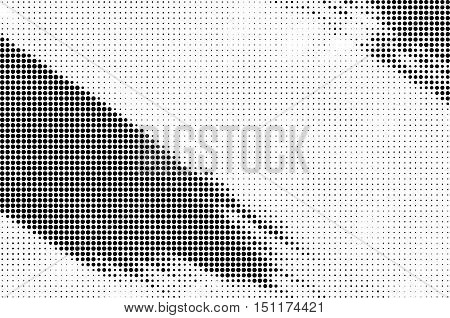 Grunge distressed black and white halftone brush strokes background