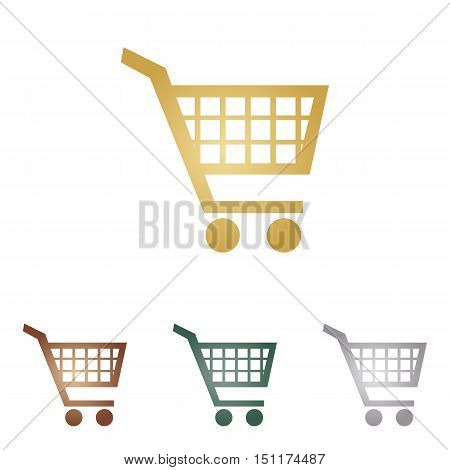 Shopping Cart Sign. Metal Icons On White Backgound.