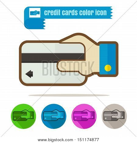 icon Credit Cards colorful design vector on white background
