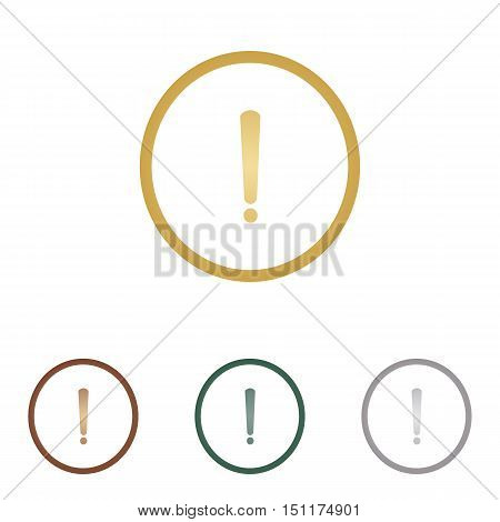 Exclamation Mark Sign. Metal Icons On White Backgound.