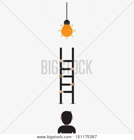 Businessman and light bulb with ladder sign.Ladder to success concept with idea light bulb icon.Creative idea and leadership concept.Partnership and teamwork concept.Vector illustration