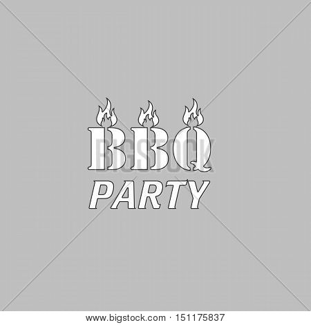 Distressed BBQ Simple line vector button. Thin line illustration icon. White outline symbol on grey background