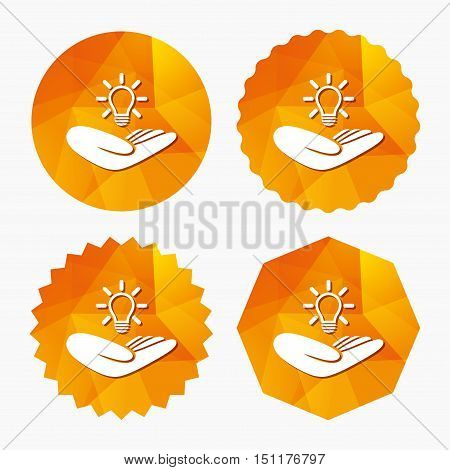 Idea patent insurance sign. Hand holds lamp bulb symbol. Intellectual Property. Triangular low poly buttons with flat icon. Vector