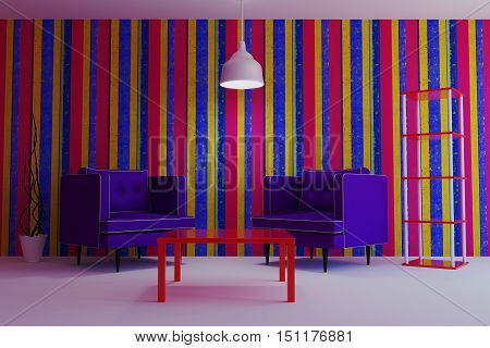 Living in a modern style with purple armchairs. 3d illustration