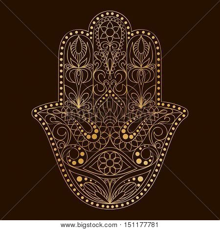 Hand drawn Hamsa symbol.  Hand of Fatima. Ethnic amulet common in Indian, Arabic and Jewish cultures. Golden Hamsa symbol with eastern floral ornament.