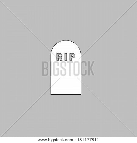 Grave Simple line vector button. Thin line illustration icon. White outline symbol on grey background