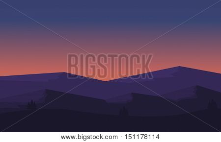Silhouette of mountain and hill scenery illustration