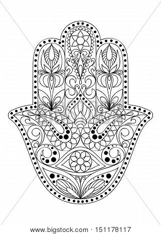 Hand drawn Hamsa symbol.  Hand of Fatima. Ethnic amulet common in Indian, Arabic and Jewish cultures. Hamsa symbol with eastern floral ornament for adult coloring. Coloring page with hamsa symbol.