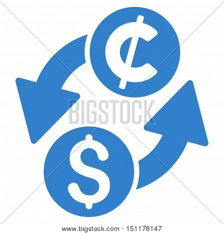 Dollar Cent Exchange icon. Glyph style is flat iconic symbol with rounded angles cobalt color white background.