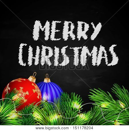 Christmas decorations with lights on Black chalkboard background with handwritten bold Merry Christmas Vector