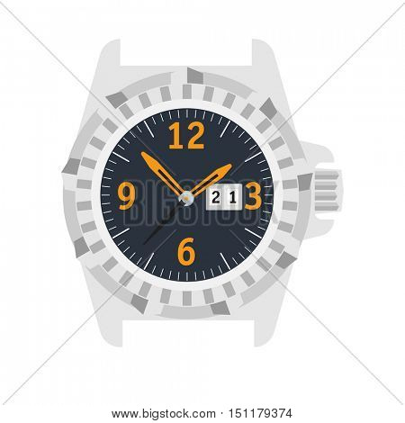 Watch Stylish accessory for men. Wristwatch. time symbol. watch on white background. Flat style illustration.