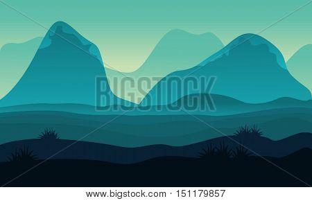 Landscape hight hill of silhouette vector illustration