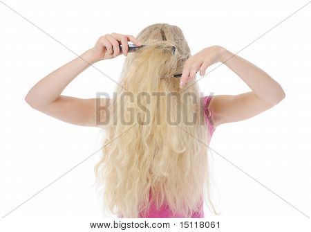 young woman with backcombing