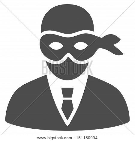 Masked Thief icon. Glyph style is flat iconic symbol with rounded angles, gray color, white background.