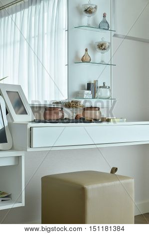 Modern Dressing Table In White Color In The Bedroom