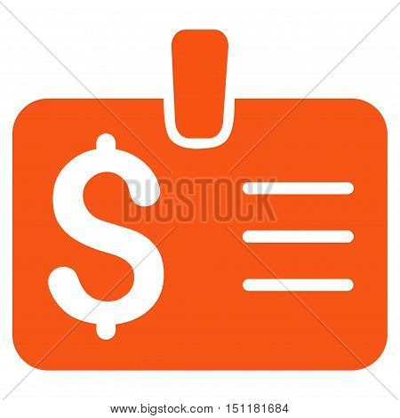 Dollar Badge icon. Glyph style is flat iconic symbol with rounded angles, orange color, white background.