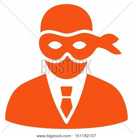 Masked Thief icon. Glyph style is flat iconic symbol with rounded angles, orange color, white background.