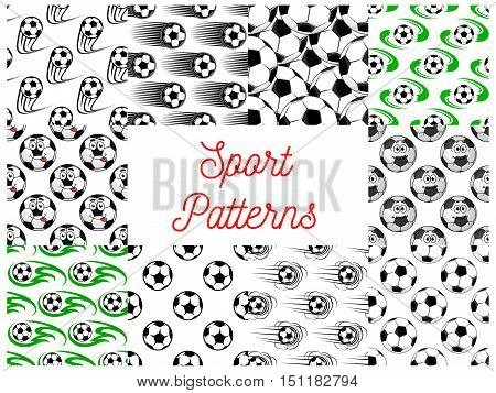 Sport seamless pattern. Vector pattern of football and soccer ball in motion, stylized, comic and cartoon style