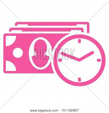 Cash Credit icon. Glyph style is flat iconic symbol with rounded angles pink color white background.