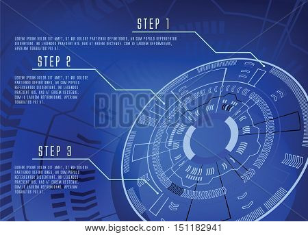 blue color techno wheel background infographics template vector illustration